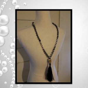 Faux Pearl And Tassle Necklace